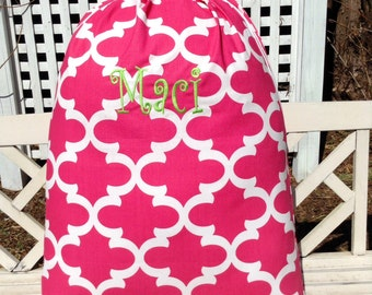 Hot Pink Moroccan Print Laundry Bag- Custom Made to Order