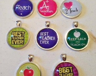 Teacher Gift -  Silver & Glass Pendant Necklace, Best Teacher Ever, Keep Calm and Teach, iTeach, A+ Teacher
