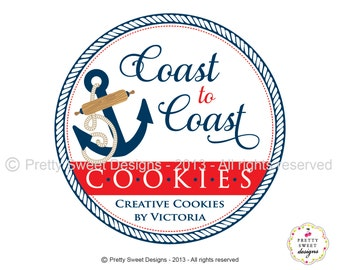 Nautical Logo, Anchor Logo Design, Nautical Blogger Design And Custom Logo For Business With Watermark