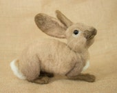 Oliver the Rabbit: Needle felted animal sculpture