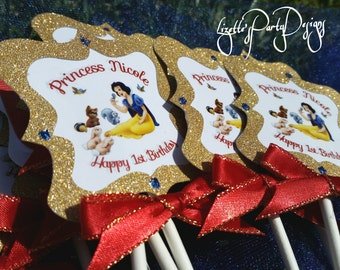 SNOW WHITE 12 Personalized Elegant Birthday Cupcake Toppers with Monogram Backing