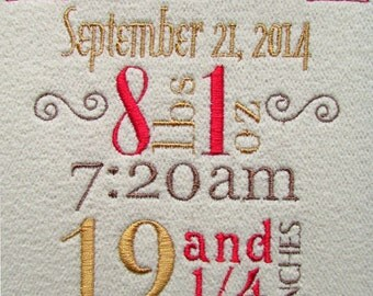 Custom Birth Announcement Embroidery Design 4x4 hoop and 5x7 hoop Not a Template