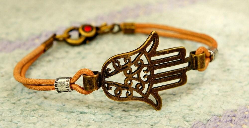 Oriental Leather Cord Bracelet with Antique Bronze Filigree Hamsa Hand, Handmade Art from Israel