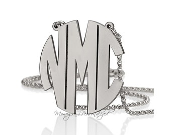 Block Monogram Necklace -  1 inch 925 Sterling Silver - Personalized Monogram