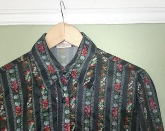 Black floral 1970s blouse