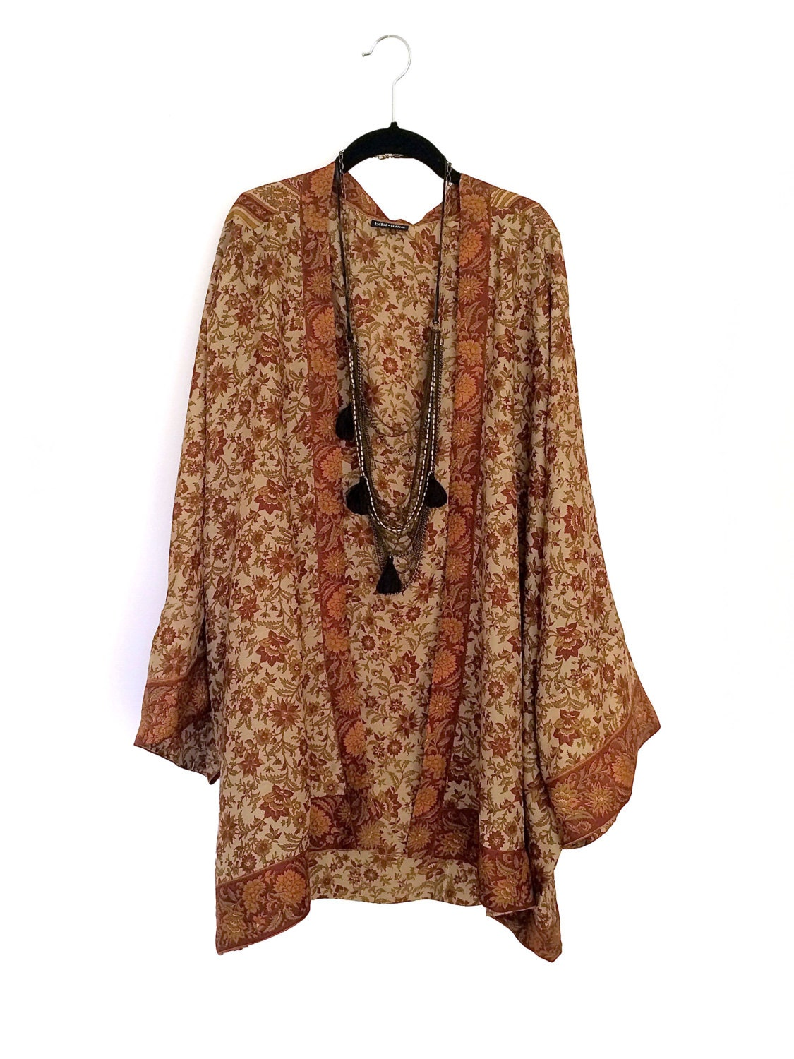 Silk Kimono Jacket Oversized Cocoon Beach Cover Up Brown And