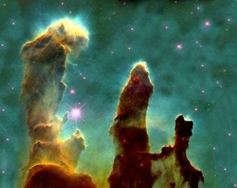 "Photo-  Eagle Nebula ""Pillars of Creation"" Hubble Telescope -Galaxy Satellite  -Photo Print"