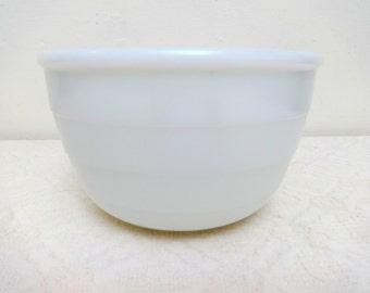 White Milk Glass Vintage GE Ribbed Mixing Bowl