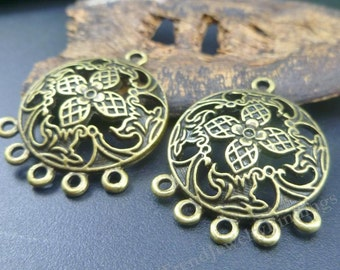 4 Chandeliers settings for Earrings in Antique Bronze - Earrings Components - Jewelry Making Supplies - EF033