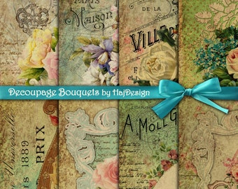 Decoupage Bouquets - Instant Download, Digital Collage Sheet, Digital Papers, Decoupage Paper - Scrapbook Paper - Altered Art - Floral Paper