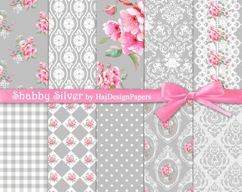 """Shabby chic digital paper : """"Shabby Silver"""" pink and grey floral digital paper for scrapbooking, invites, cards, decoupage paper"""
