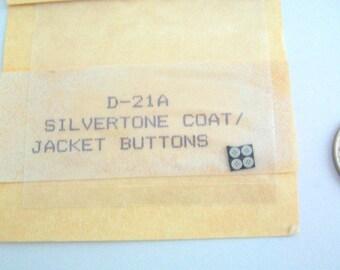 Miniature Buttons, Dollhouse Buttons, Miniature Dressmaker, Silver Buttons, Miniature Silver Buttons, Mini Buttons Vintage Buttons, Set of 4