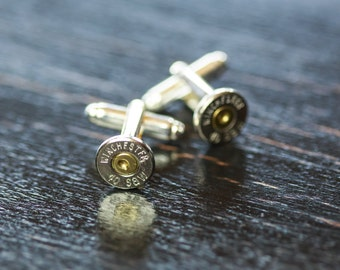 Mens Bullet Casing Cufflinks - 40 Caliber Bullet Cufflinks - Perfect Country Wedding Accessory