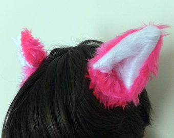 Hot Pink Cosplay Furry Wolf Fox Cosplay Ears on Hair Clips Halloween Costume Festival Fursuit White Neko Cat Cute