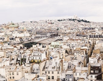 Paris Photography, Paris Cityscape, Paris Print, Sacre Coeur Photo, Paris Rooftops, Paris Decor, Beige Decor, Home Decor, Paris Wall Art
