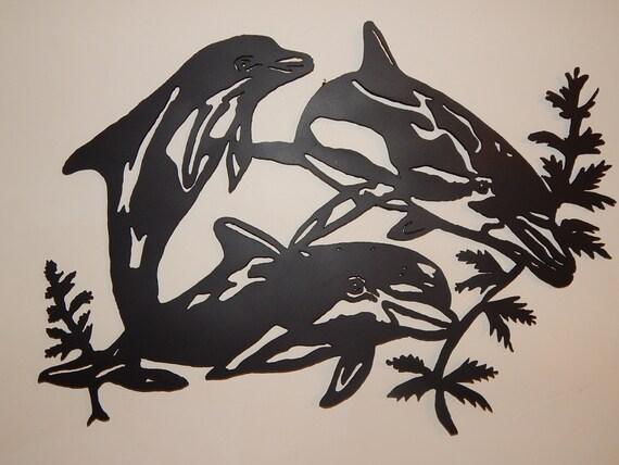 Steel Metal Art Dolphin Trio 3 Porpoise Black Flat By