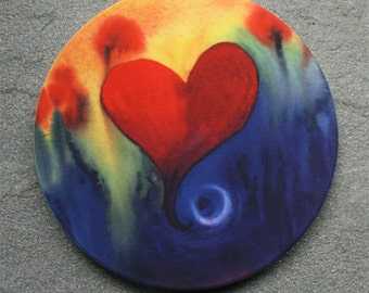 Watercolor Heart Sandstone Coaster