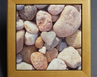 Heart Rock Framed Tile Trivet