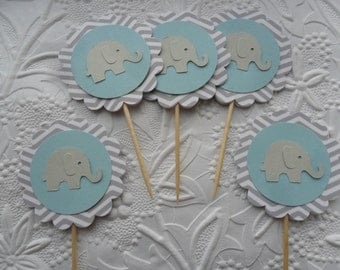 12 Light Blue and Grey Chevron Elephant Cupcake Toppers-Toothpicks-Food Picks-Party Picks-Baby Boy Shower