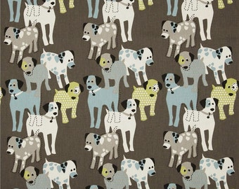 Dog Fabric by the Yard blue green brown natural woof woof macon mantis Premier Prints Home Decor - 1 yard or more -  SHIPS FAST