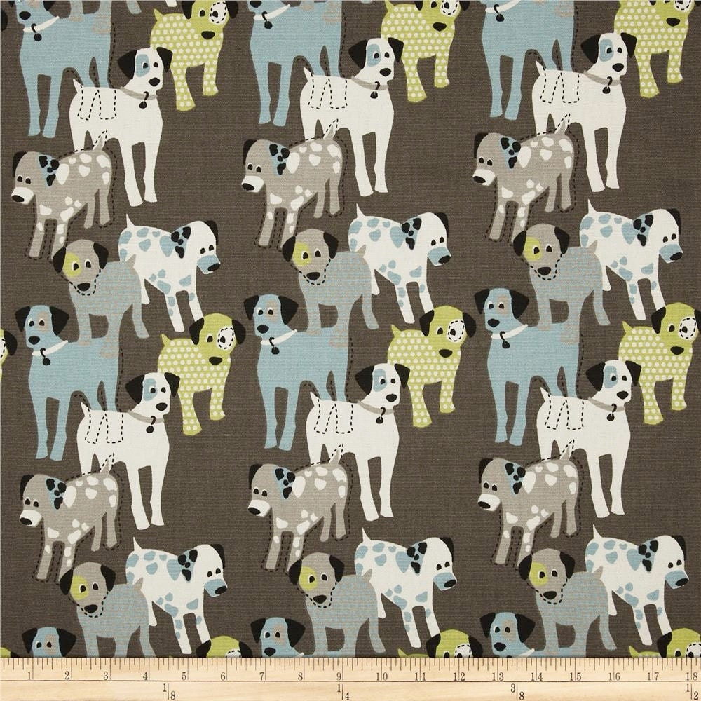 Dog fabric by the yard blue green brown natural woof woof for Home decorating fabric by the yard