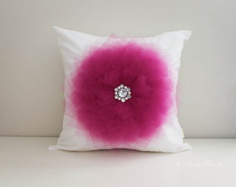 Pillow Cover - Fuchsia Nursery pillow Flower Pillow Decorative Pillow Toss Pillow Accent Pillow Fuchsia Flower Pillow Covers 16 x 16