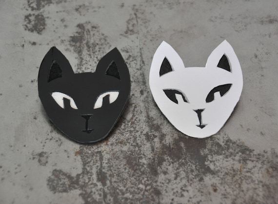 Cat brooch in black and white reclaimed leather handmade in London - black cat, black and white cat, mothers day, cute animal brooches