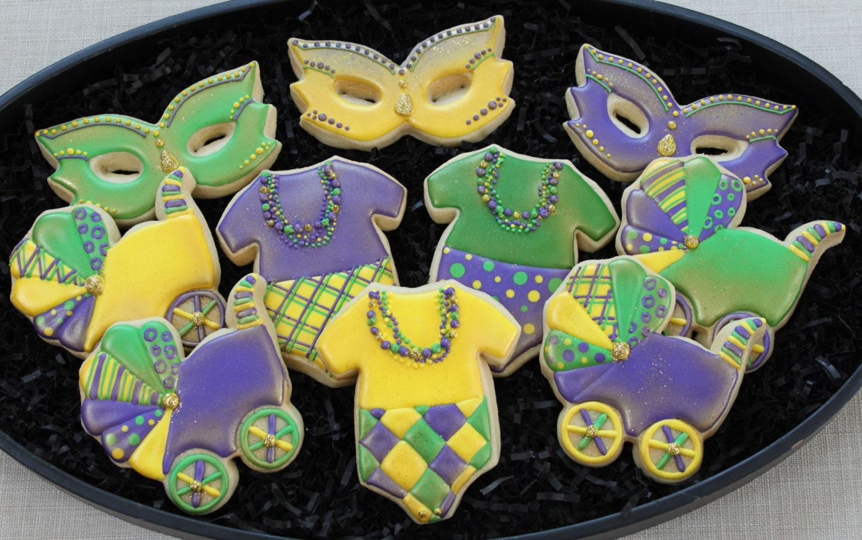 mardi gras cookie favors baby mardi gras cookies baby shower