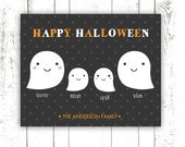 Halloween Decor Art Print - 8x10 Halloween Ghost Family Personalized Art Print - Custom Grey Polka Dots - MooseberryPrintShop