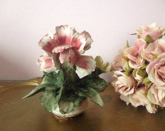 Vintage 50 S 60 S Capodimonte Flowers In Vase Art Flowers