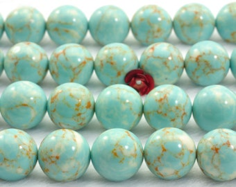 33 pcs of Blue Chinese Turquoise smooth round beads in 12mm