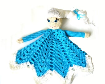 Crochet Lovey Pattern Ice Queen,   Baby Security Blanket Pattern, Crochet Frozen Lovey,  Crochet Baby Princess Lovey Blanket Pattern
