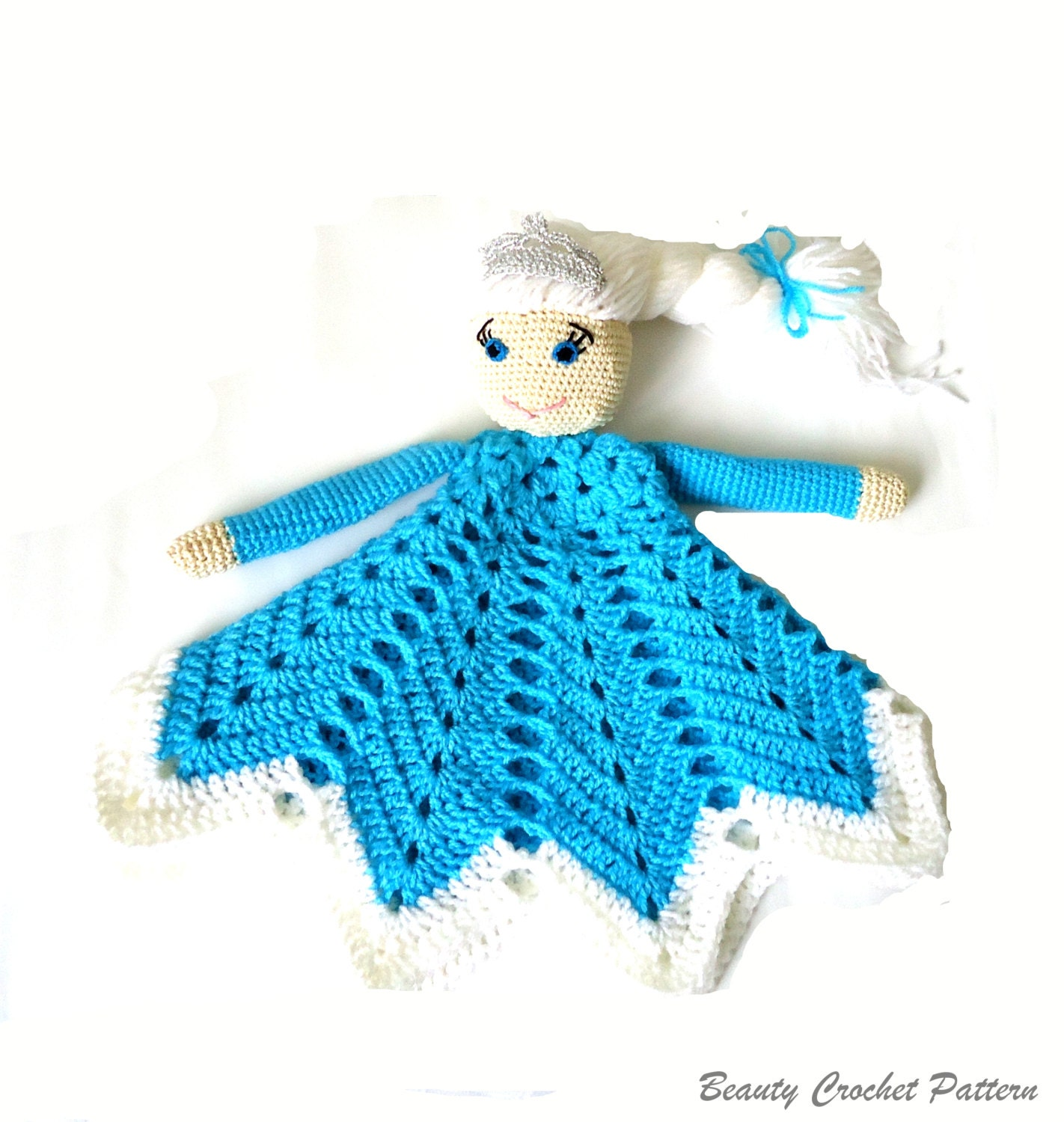 Crochet Pattern For Baby Security Blanket : Crochet Lovey Pattern Ice Queen Baby Security Blanket