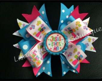 Jesus loves me stacked boutique bow