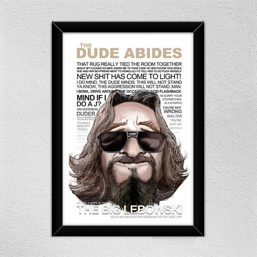 Big Lebowski Quotes: The Big Lebowski Quotes Poster Illustration The Big
