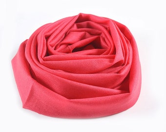 Red Wool Scarf - 100% Wool Red Scarf with Fringing Ends -Wool cashmere Blend Scarf -BS101