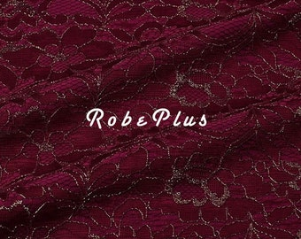 Composite red lace fabric -Twp-layer red Lace -Maroon lace-knitwear fabric with red lace overlay-Dark red lace fabric -L2