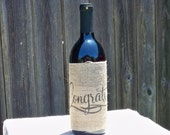 Congrats Personalized Burlap Wine and Bottle reusable slip on sleeve to fit on most bottles