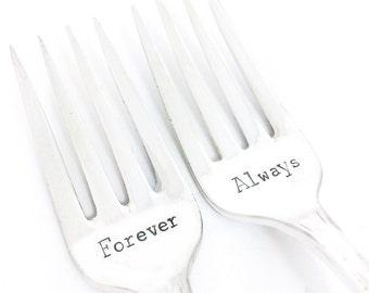 Forever Always Fork Set - Hand Stamped Vintage Silverware, wedding forks, wedding gift, anniversary gift, stamped forks