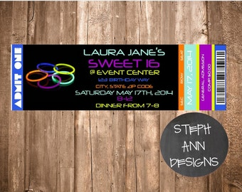 Customized Invitation for a Glow in the Dark Party - Printable Invitations-Neon Party Printable Invites