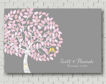 Guest Book Tree Wedding Gift, Pink Gray Wedding Tree, Guest Book Alternative, Wedding Keepsake, Bridal Shower Gift, Wedding Sign Tree Poster