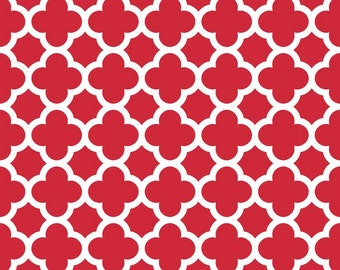 10% OFF 1/2 yard Quatrefoil Cottons by Riley Blake red