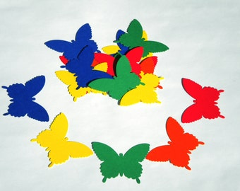25   Butterfly die cuts/ Primary colors /  scrapbook embellishments