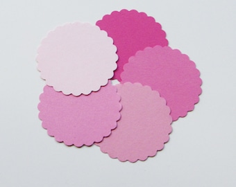 """Scalloped Circles die cuts,/ pink/ 50pc/ your choice of size, 1"""",1.5"""",2"""",2.5"""",3"""", 3.5"""", great for tags, scrapbooking, baby shower"""