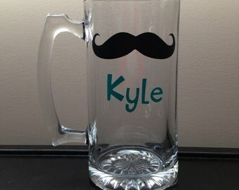 Beer Mug with Mustache and Name in Vinyl