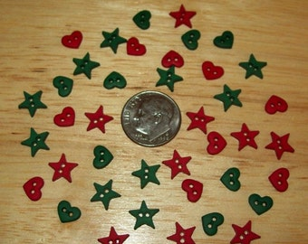 Christmas Buttons, Mini, Red and Green, Set of 40 pieces, Sewing or Scrapbook Embellishments