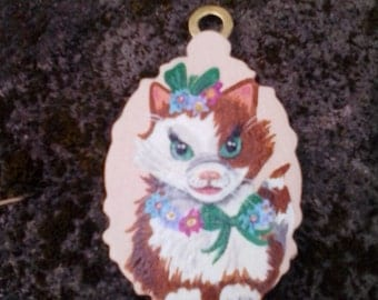 Vintage style miniature brown and white fluffy kitten painting