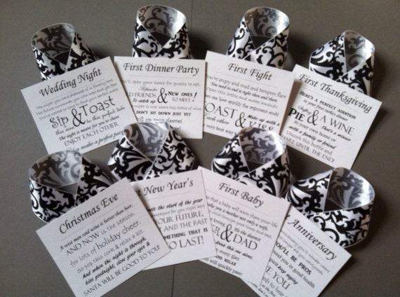 Wedding Wine Poem Tags / White and Black with Damask Ribbon