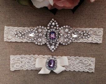 Wedding Lace Garter Set - Purple Rhinestone Garter - Toss Garter - Bridal Garter - Wedding Garter Belt - Ivory Garter - Keepsake Garter