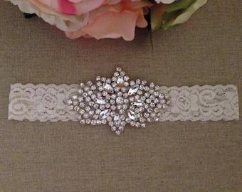Wedding Garter - Bridal Garter - Crystal Rhinestone and Pearl Garter - Ivory Rhinestone Garter